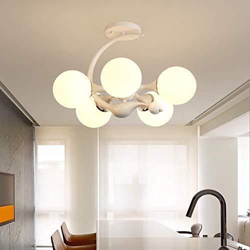 Oevina Modern Schlafzimmer Kronleuchter Deckenleuchte, zeitgenössischer Glasschirm Anhänger Beleuchtung Innenleuchten E27 für Wohnzimmer Foyer Badezimmer-Weiß A -