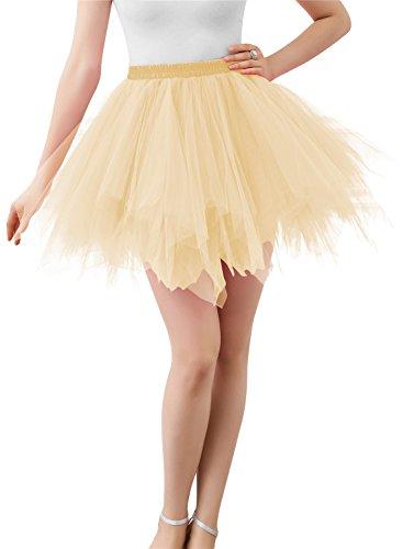 Wedtrend Damen Retro Petticoat Party Kurz Ballett Tanzkleid WTC10002-Champagne-M-L