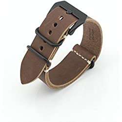Owfeel Brown Leather Replacement Watch Band Strap Belt 22mm