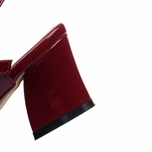 VogueZone009 Donna Punta Aperta Tacco Medio Pelle Di Maiale Puro Fibbia Sandali Chiaretto