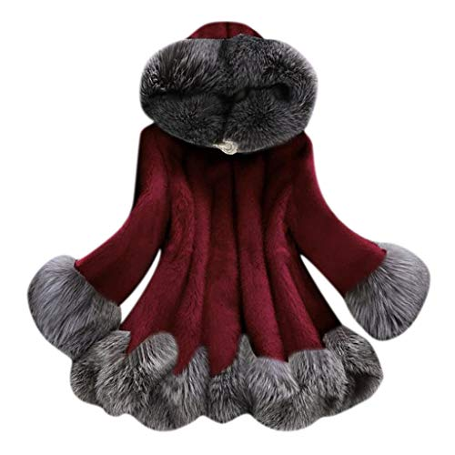 ➤Refill➤Damen Winter Warm Faux Pelzmantel Jacke Damen Elegant Faux Fox Pelz Winterjacke Fell Wintermantel Outerwear Jacke Kapuze Steppmantel Kleid Winterjacke