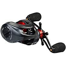 KastKing Spartacus Baitcasting Reel - Exceptional MicroCast Control Centrifugal and Magnetic Dual Brake System - Ultra Smooth 11 + 1 Shielded Stainless Steel Bearings Equipped with Carbon Fiber Drag - The Warrior for Bass Fishing and Saltwater Fishing - [2016 Newly Release Sale] (Black/Red, Left Handed)