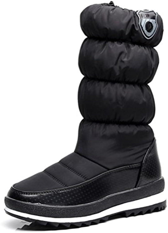 QPYC Femmes Dans les bottes tubulaires Glissière Glissière tubulaires latérale Glissière imperméable Chaussure en coton Velcro Garder...B0798QZVKKParent 6bded2