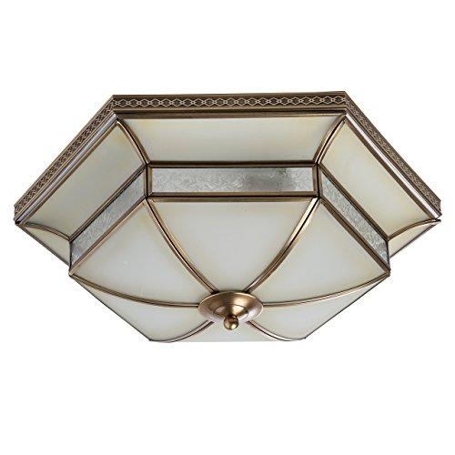 Plafoniera elegante colore ottone metallo vetro opaco ottone autentico decorativo con pattern compatto luce caldo vintage in stile barocco rustico 4-lamp Ø52CM 4*40W E27-escl
