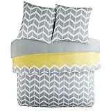 SCM Bettwäsche 200x200cm Grau Gelb Mikrofaser 3-teilig Bettbezug & Kissenbezüge 80x80cm Geometrisch Chevron Nadia Ideal für Schlafzimmer