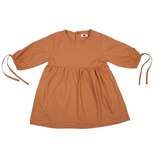 iges Kleid niedlich bowknot Ärmel Prinzessin Kleider aus weicher Baumwolle einfarbig Frühling Sommer Faltenrock Outfit für lässige tägliche Party Foto erschossen(80) ()