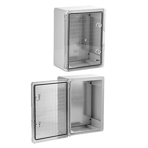 Schaltschrank IP65 Sichttür Industriegehäuse 200 x 300 x 130 mm verzinkter Montageplatte transparent Tür mit umlaufender Dichtung Gehäuse Leergehäuse ABS Kunststoff leer Schrank ARLI 21 x 28 x 13 cm -