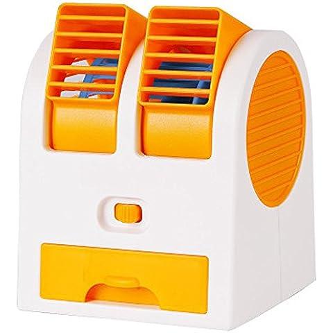 kokome Portable escritorio ventilador Mini USB Mini portátil aire acondicionado Mini ventilador refrigerador ajustable doble aire salidas de aire (naranja)