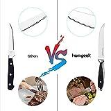 Homgeek Steakmesser Set, 6 Stück Fein Gezahnte Steakmesser, Aus Edelstahl mit Ergonomischem Griff - 3