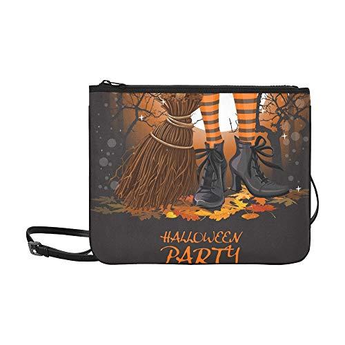 WYYWCY Halloween Party Poster Hexe Beine Stiefel Benutzerdefinierte hochwertige Nylon Slim Clutch Crossbody Tasche Umhängetasche