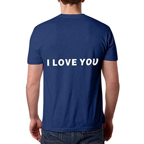 WOZOW Shirts Herren Kurzarm O Ausschnitt Solid Slogan I Love You 3000 Times for Ironman Hearts Muster Print Druck Oberteile Tops Loose Lose Geschenk Gift Bluse (3XL,Marine -Men)