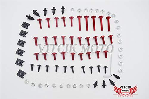 VITCIK Kits de boulons pour moto TMAX500 2008 2009 2010 2011 2012 TMAX 500 08 09 10 11 12 attaches aluminium CNC (Rouge & Argent)