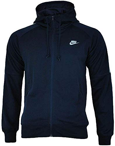 Nike Mens Track Top Hoody Tribute Tracksuit Jacket Hooded Sports Jacket Navy 708097 451 (Large) - Air Pullover