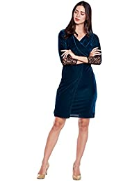 Green Ruched velvet wrap dress with mesh sleeves