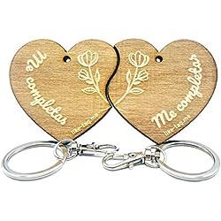 LIKE-TAG® Corazón Me Completas - Llavero Original Partido Pareja de Madera Grabado Regalo para San Valentín Mujer Hombre cumpleaños pasatiempo Colgante Bolso Mochila