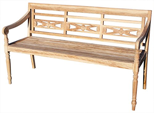 KMH®, Teak 3-sitzer Gartenbank Harry (145 cm) im Shabby Chic Stil - whitewashed (#102143)