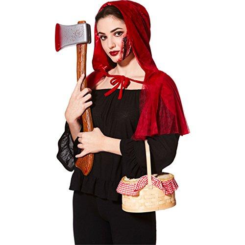 Rotkäppchen Halloween Accessoires Kostüm-Set - Umhang, Axt & (Riding Red Kostüm Wolf Big Little Hood Bad Und)