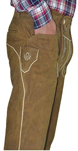 Trachten Lederhose lang Herren Damen- Hochwertige Trachtenhose Leder lang aus echtem Leder Nubuk, Bayerische Lederhose in Hellbraun (38, Camel)