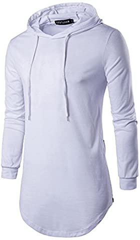 Whatlees Mens Hip Hop Extra Long Design Solid Long Sleeve Side Zipper Pullover Hoodie Shirt B415-White-L