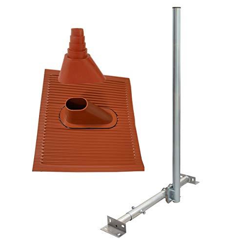 PremiumX Basic X120-48 SAT TV Dachsparrenhalter 120cm Mast 48mm Dach-Sparren-Halterung Kabeldurchführung für Satelliten-Antenne Satellitenschüssel | Dachabdeckung ALU-Ziegel Manschette rot - Dach-antenne-tv