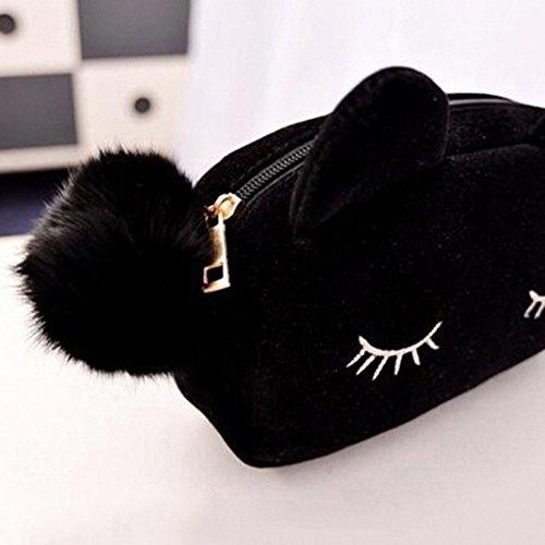 Zedtom Kosmetikbeutel Kosmetiktasche, Motiv: süße Katze, mit Reißverschluss, Täschchen, Stiftehalter, Farbe: Mehrfarbig schwarz