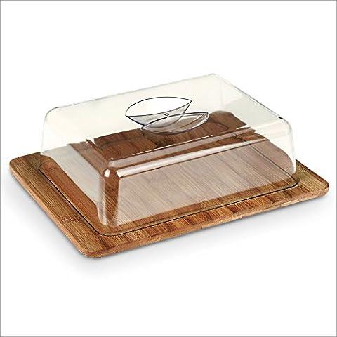 Relaxdays - Campana para queso + base de bambú 26 x 20 x 8 cm Campana de plástico Higiene