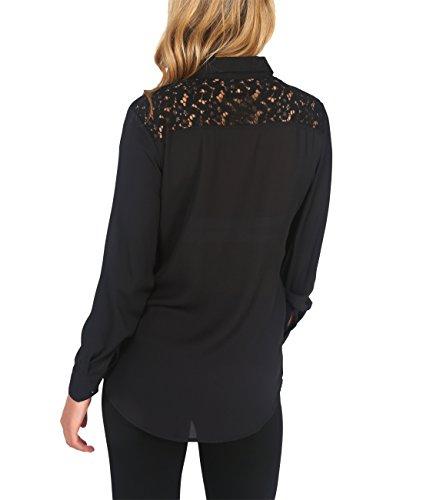 KRISP® Femmes Blouse Chemise Mousseline Col Lavallière Crochet Noir