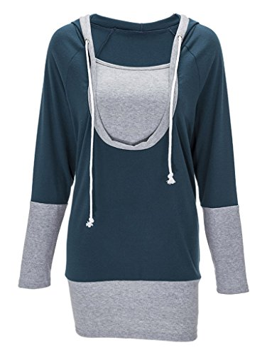 662de55920e Bigood Sweat-shirt à Capuche Femme T-shirt Faux 2 Pièces Pull Manche Longue  ...