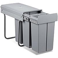 Relaxdays Mülltrennsystem 30 Liter, HxBxT: 41,8 x 26 x 48 cm, 3 x 10 L, Deckel, für Küchenschrank, Kunststoff, grau