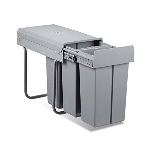 Relaxdays Mülltrennsystem 30 Liter, HxBxT: 41,8 x 26 x 48 cm, 3 x 10 L, Deckel, für Küchenschrank, Kunststoff, grau -