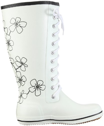 Viking RETRO FLOWER 1-246 Damen Gummistiefel Weiß (white/black 102)