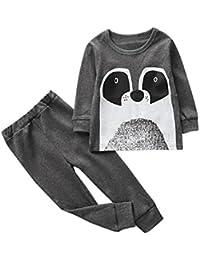 2 PCS Toddler Baby Girls Niños Niños Trajes de Dibujos Animados Ropa Camiseta Tops y Pants
