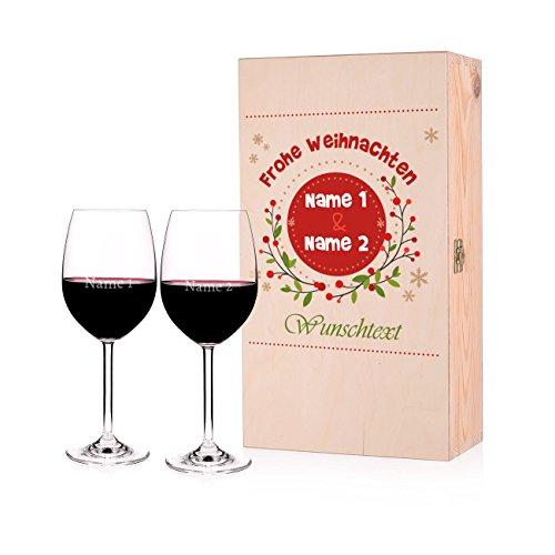 Leonardo 2 Weingläser mit Gravur zu Weihnachten in edler Geschenkverpackung mit persönlichem...