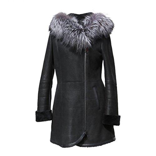 Lammfelljacke - ATESSA Damen Winterjacke Echtleder Merino Felljacke schwarz Size L