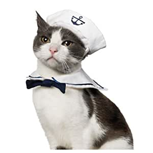 Dogloveit Small Dog Cat Puppy Adjustable Sailor Costume Hat & Cape/ Tie 2pcs