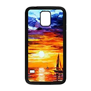 Painting of Boats in the Sea at Sunset Samsung Galaxy S5 Cell Phone Case Black DIY present pjz003_6379686