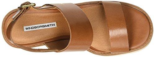Windsor Smith Buffy Leather, Scarpe Col Tacco con Cinturino a T Donna Marrone (Tan)