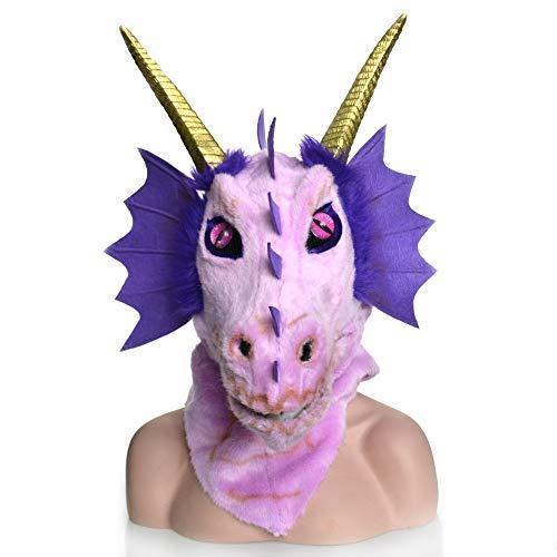 BEIXI Rosa Dragon Head Gehörnter Dinosaurier Maske Dragon Headgear Pelzmund für Holloween Party bewegen ( Color : Purple , Size : 25*25 ) (Gehörnte Brille Kostüm)