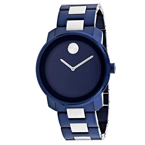 Movado Bold da uomo 42mm in acciaio bicolore blu quadrante orologio al quarzo 3600422
