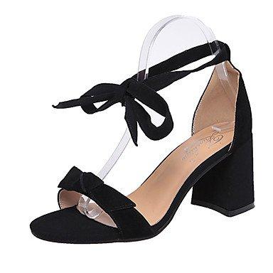 RUGAI-UE Mode d'été occasionnels Chaussures Femmes Sandales talons PU confort,NOUS,Rose6.5-7 / EU37 / UK4,5-5 / CN37 Black