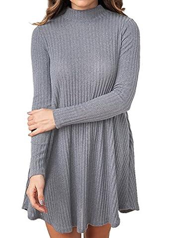 Romanstii Damen Damen Mock Neck Langarm Strick Pullover Swing Kleider mit Taschen (Mittel, Grau)