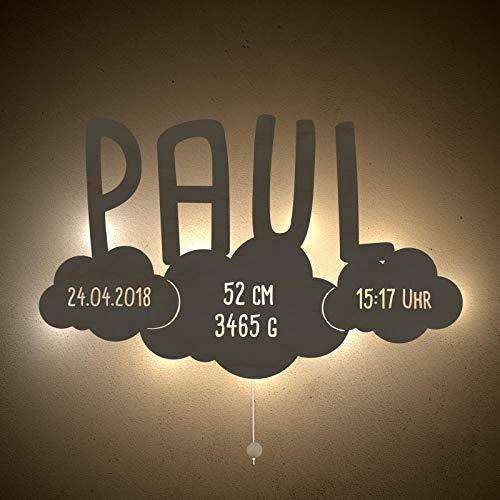 Nachtlicht Schlummerleuchte Cloudy das Wölkchen Schlummer-Licht individuell mit Kinder-Namen konfigurierbar Farbe & Ausstattung anpassbar Original Design von hellomini