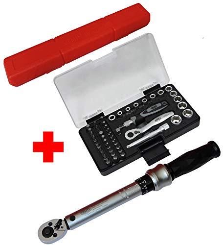 FAMEX 10872 Drehmomentschlüssel Fahrrad Werkzeugset Feinmechanik - 6,3 mm (1/4-Zoll)-Antrieb, Messung in beiden Drehrichtungen, 6-30 Nm - Sparset mit FAMEX 594-38 Steckschlüsselsatz 47-teilig