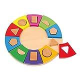 Small Foot by Legler Steckpuzzle Formen Kreis aus bunt lackiertem Holz, ein schönes Lernspielzeug für Babys und Kleinkinder, geometrische Formen werden auf einem Brett platziert, schult die Feinmotorik und das räumliche Denken