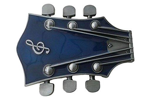 Bai You Mei Adulto Guitarra Unisex Music Headstock Hebillas De Cinturón, Western Vintage Hecho A Mano Vaqueros Hebillas Azul