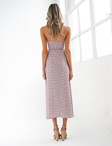 Minetom Donne Ragazze Moda Sexy Collo V Senza Maniche Maxi Abito Stampa Floreale Hem Diviso Lunga Vestito Spiaggia Partito Rosa