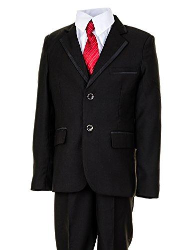 Festlicher 5tlg. Jungen Anzug in vielen Farben mit Hose, Hemd, Weste, Krawatte und Jacke M291sw Schwarz Gr. 6 / 110 / 116