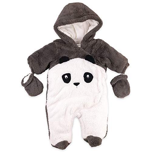 Watch Me Grow Baby Overall Unisex weiß braun | Motiv: Panda | Tierstrampler mit Kapuze für Neugeborene & Kleinkinder | Größe: 9-12 Monate (74/80)