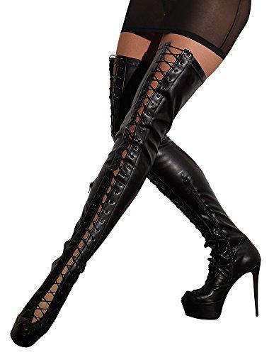 Cotelli Collection Stiefel - verführerische Overknee-Stiefel mit Schnürung, High-Heels-Stiefel in Leder-Optik für Frauen, schwarz