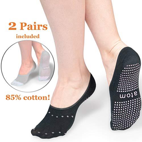 atom products Yoga-Socken für Frauen - Rutschfest - Baumwolle - Ideal für Barre, Yoga, Pilates, Tanz, Gymnastik und Trampolin - 2 Paar